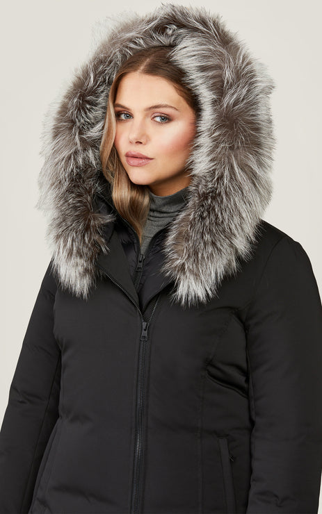 Salma Classic Down Coat w/ Removable Silver Fur - Black