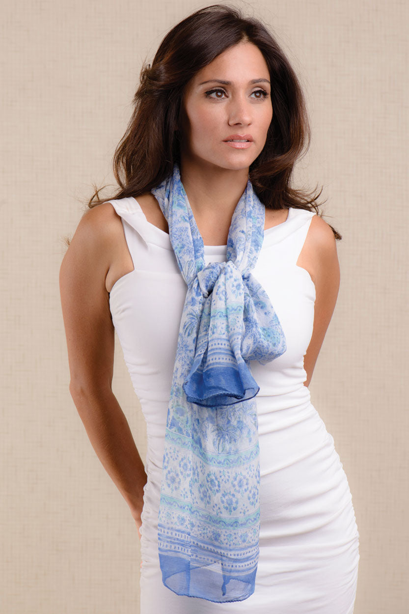 Sheela Chiffon Scarf - Pottery Blue