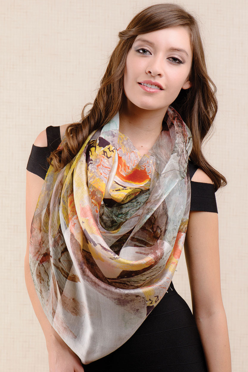Parina Printed Silk Scarf - Autumn