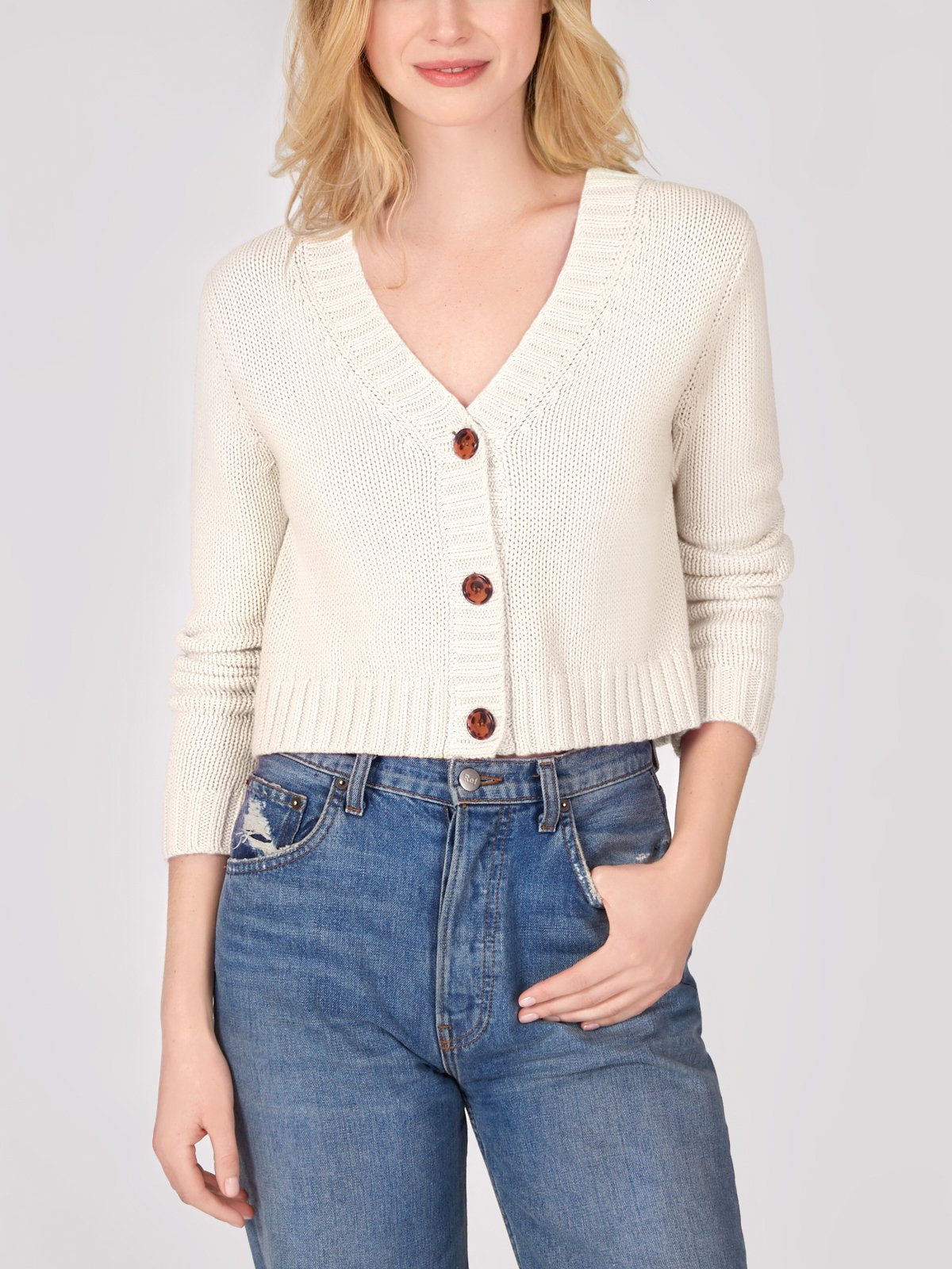 Cotton Shaker Cropped V-Neck Cardigan - Chalk