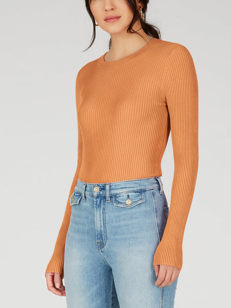Ribbed Knit Crewneck Top - Orange Zest