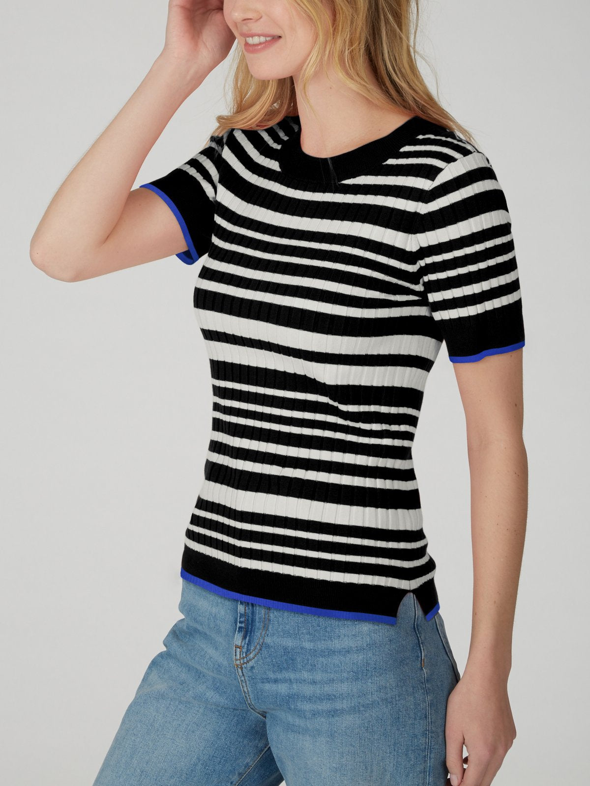 Wide Ribbed Striped Poor Boy Tee - Black Multi