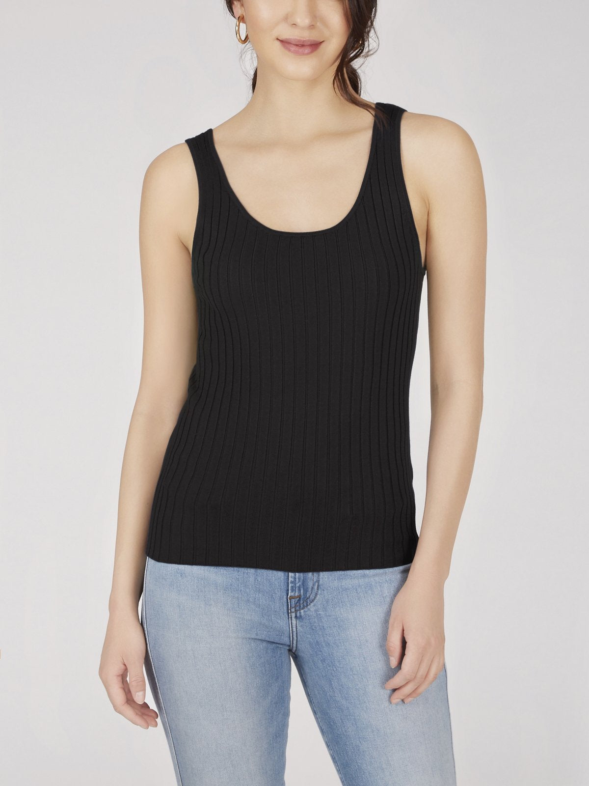 Wide Ribbed Knit Tank - Black