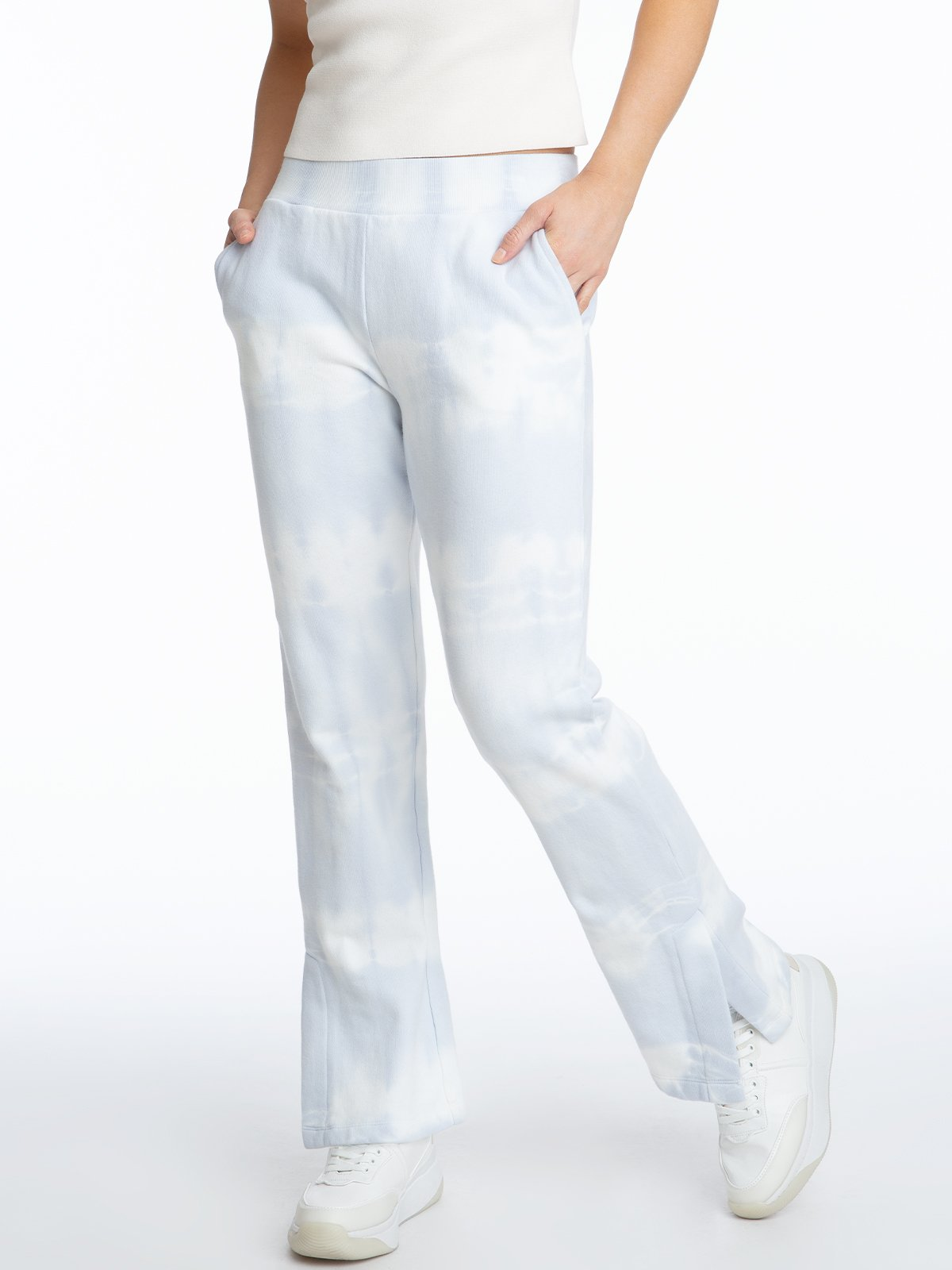 Tie Dye Pant with Slit - Blue Cloud Multi