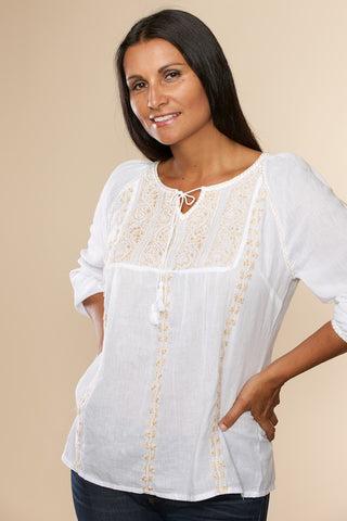 Asanga Tunic - White & Butterscotch