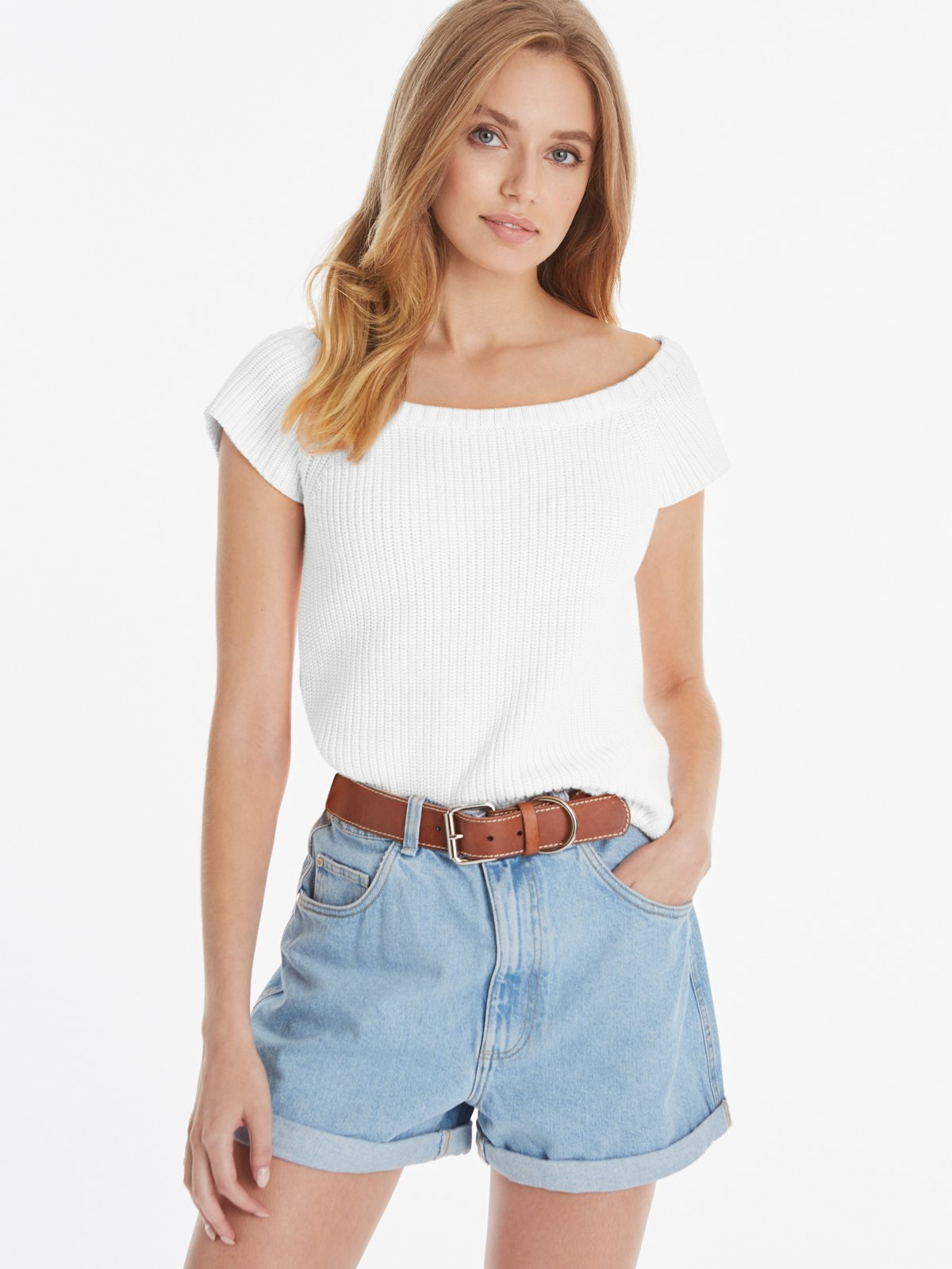 Juliet Cotton Shaker Bateau Top - Bleach White
