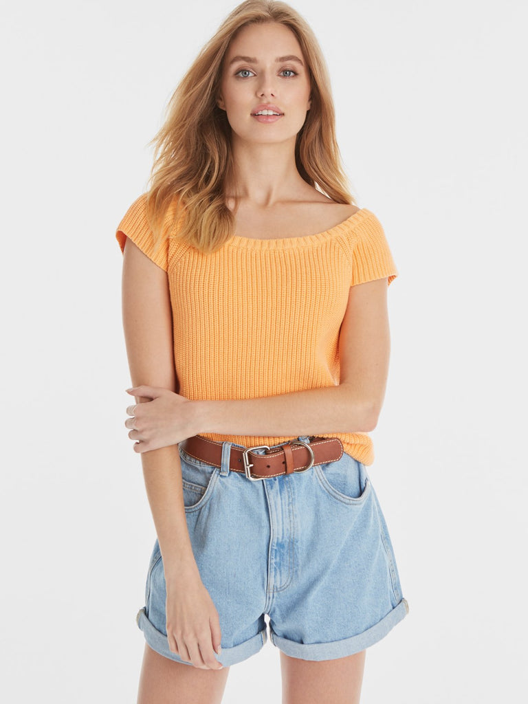 Juliet Cotton Shaker Bateau Top - Tango Orange