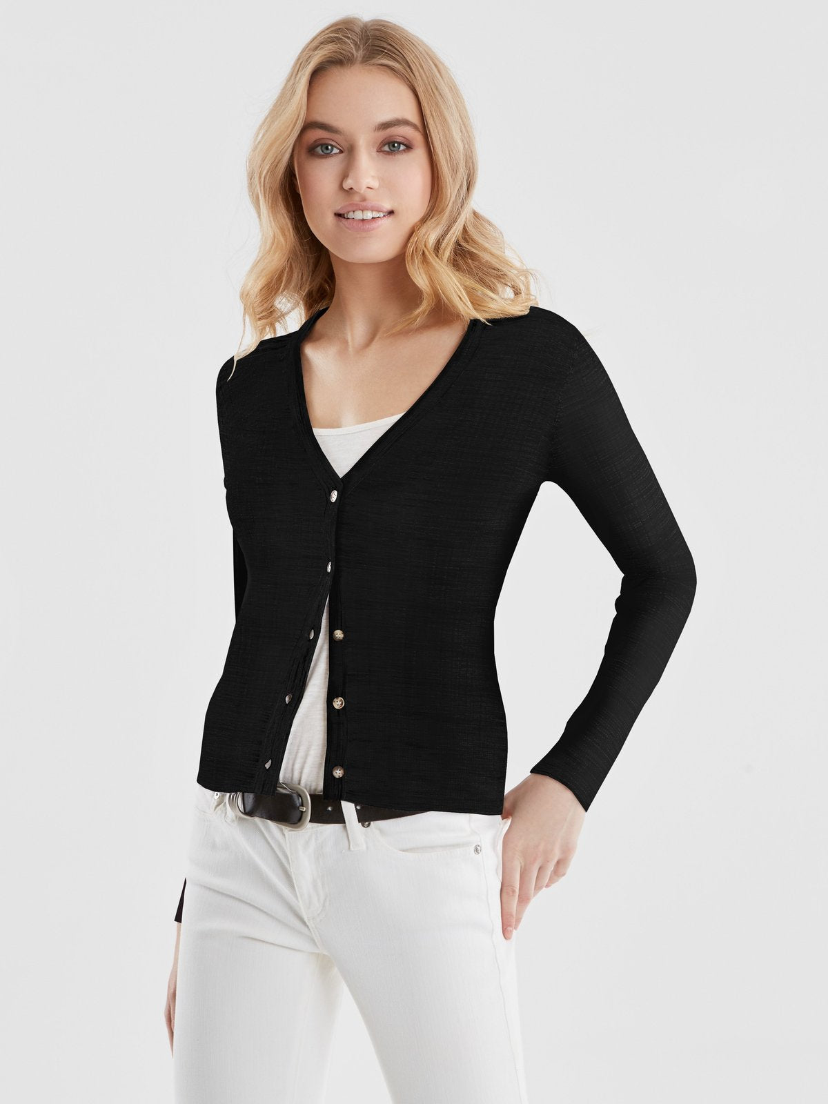 The Kelly: Fitted Rib Knit Cardigan - Black