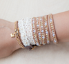 Chan Luu YELLOW CRYSTAL MIX WRAP BRACELET ON BEIGE LEATHER