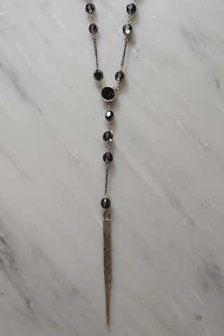 Silver Night Crystal Agate and Dagger Rosary Necklace