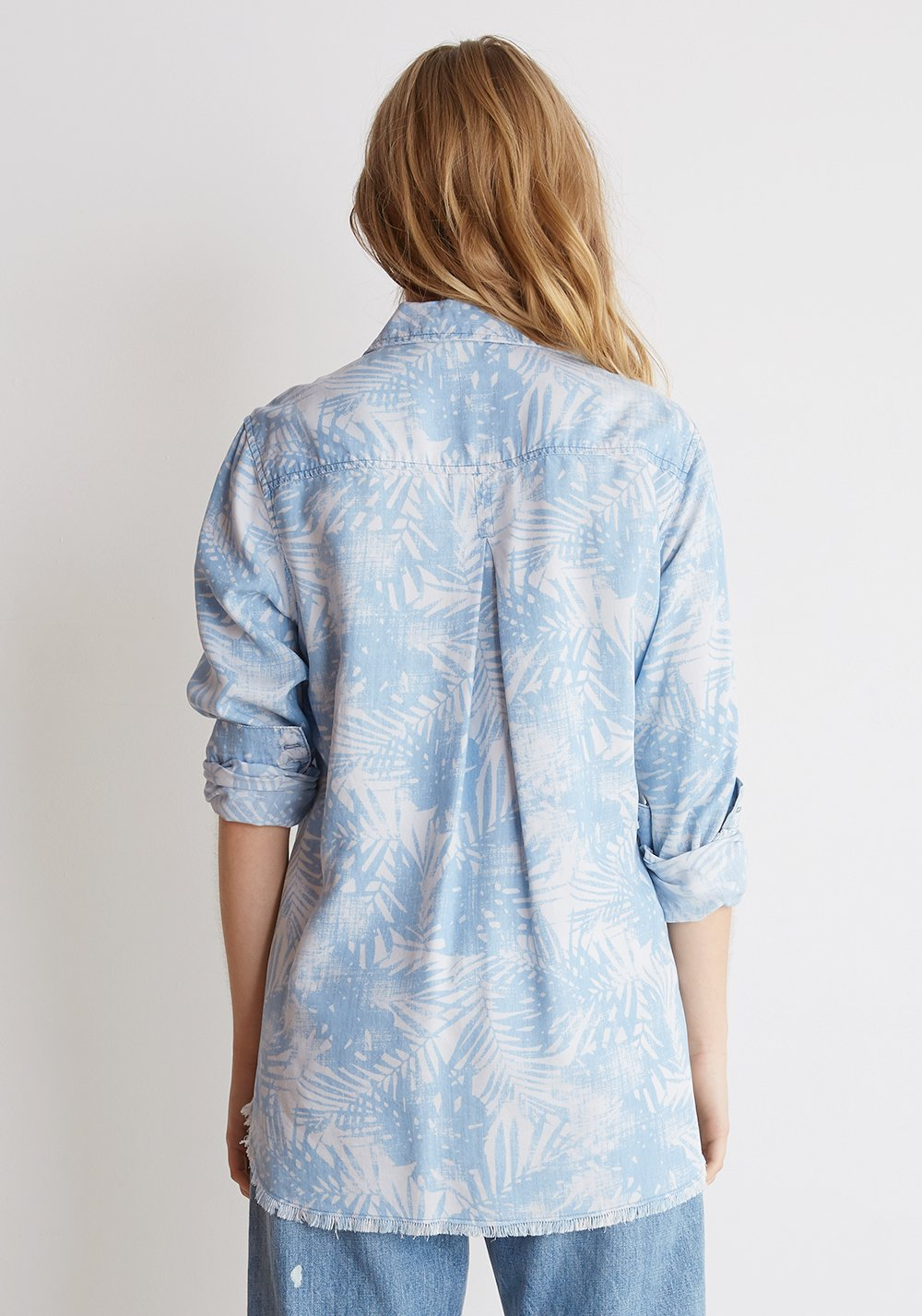 Fray Hem Pocket Button Down - Palm Print