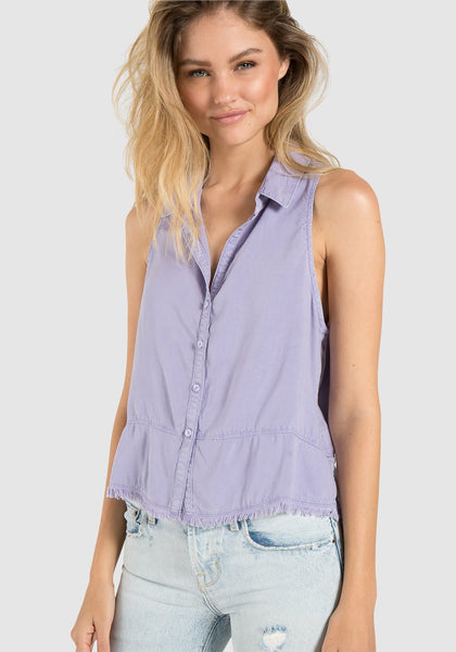 Sleeveless Seamed Button Down - Heirloom Lilac