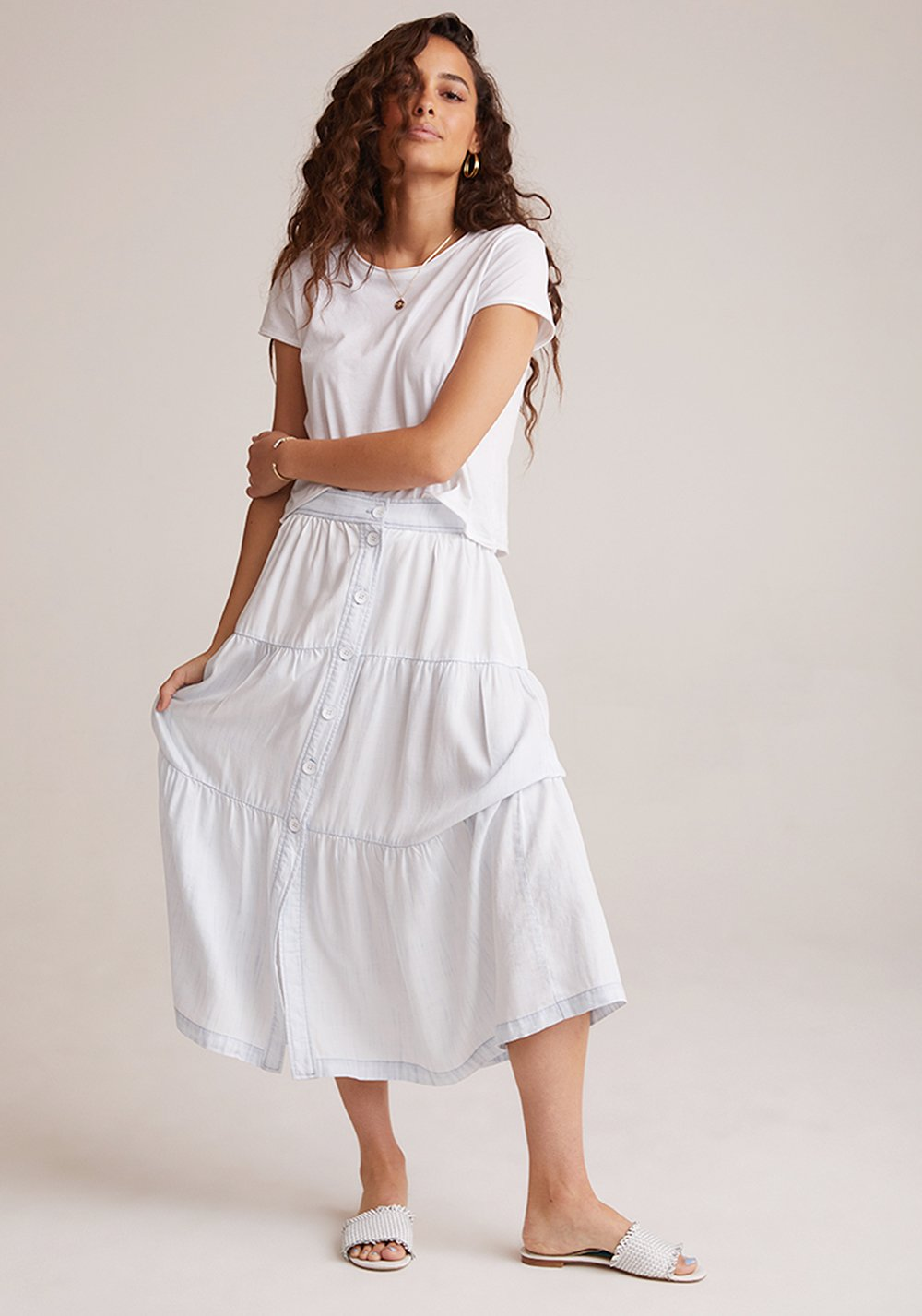 Button Front Tiered Skirt - White Out