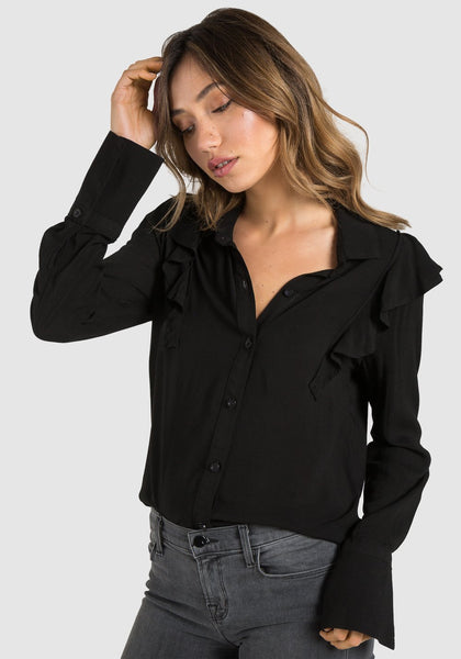 Ruffle Button Down - Black