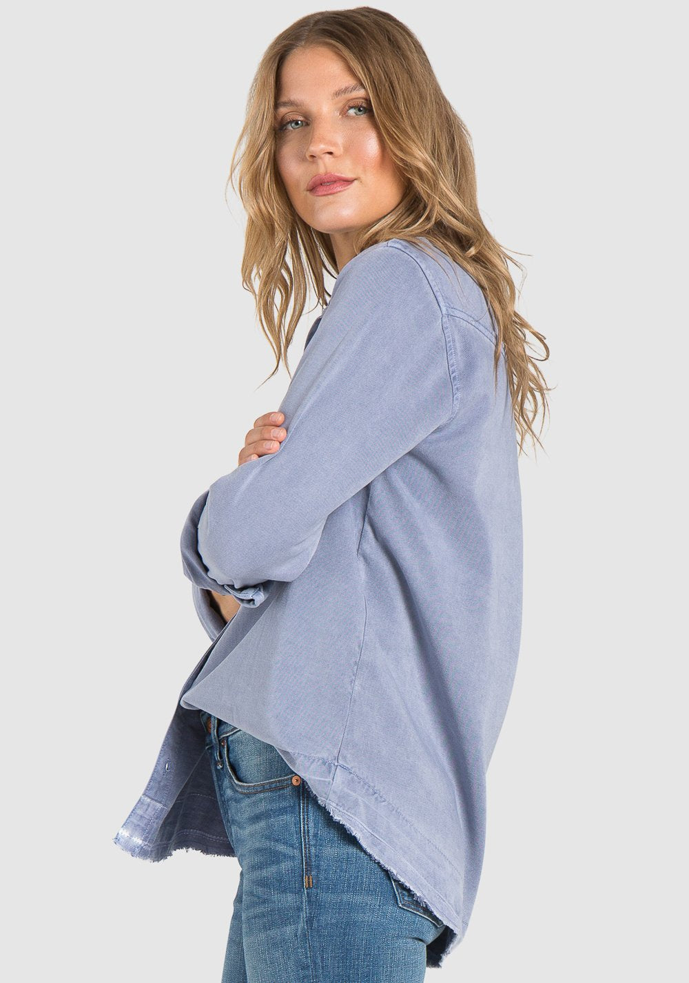 Released Hem Button Down - Washed Denim