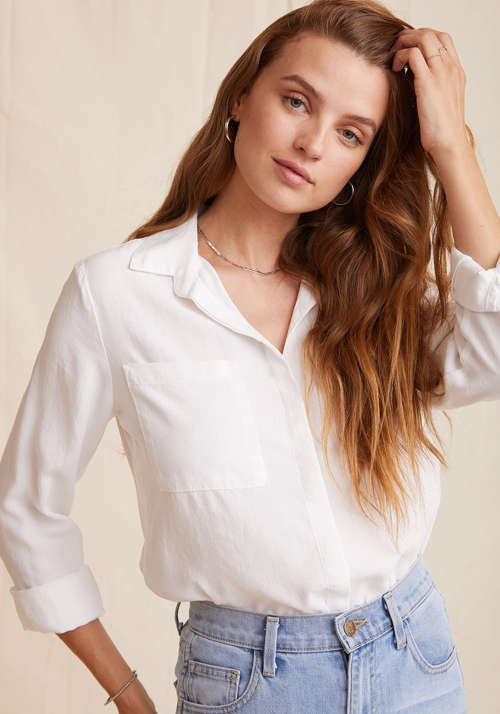 Two Pocket Classic Button Down - White