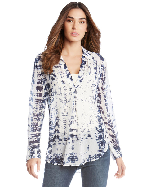 Tie Dye Half Placket Shirt - Blue/White