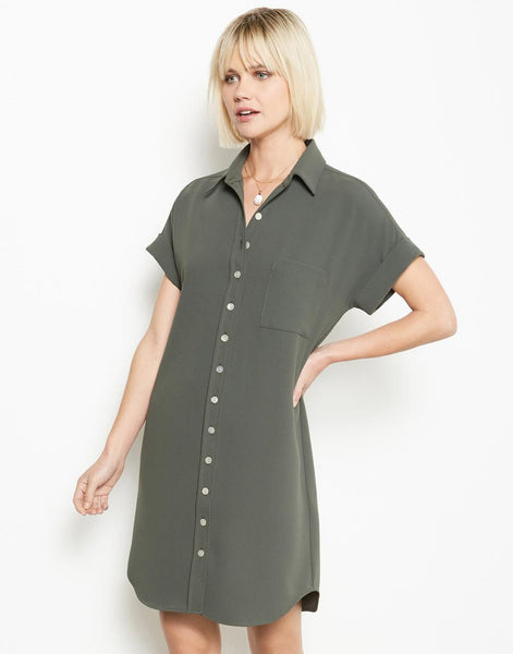 Short Sleeve Shirtdress - Army Green