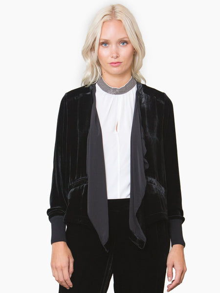 Go Velvet Waterfall Blazer - Washed Black