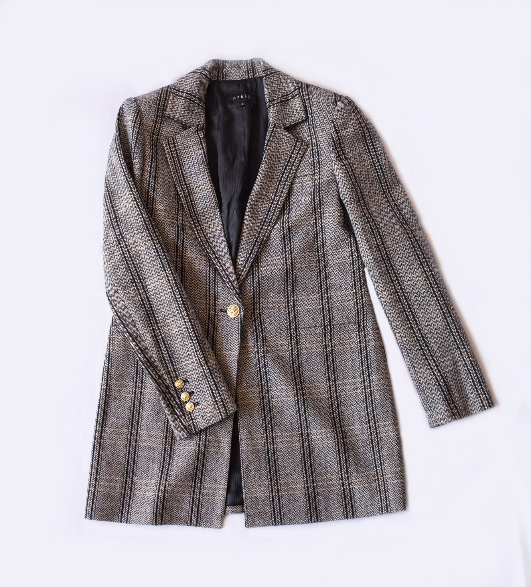 Oversized Boyfriend Blazer - Herringbone Plaid