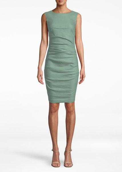 Stretch Linen Lauren Sheath Dress - Sage