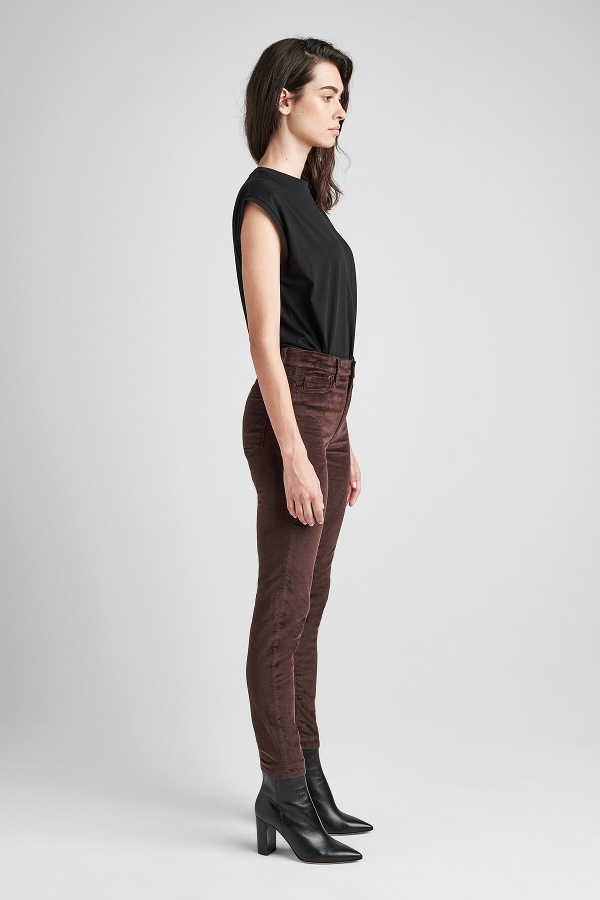 Barbara High Rise Super Skinny Ankle in Velvet - Antler