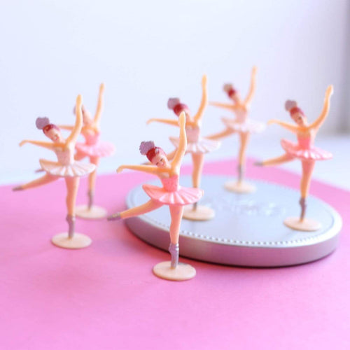 Cake Topper Vintage-Style Ballerina Cupcake Toppers Retro Pink and White Set of 6