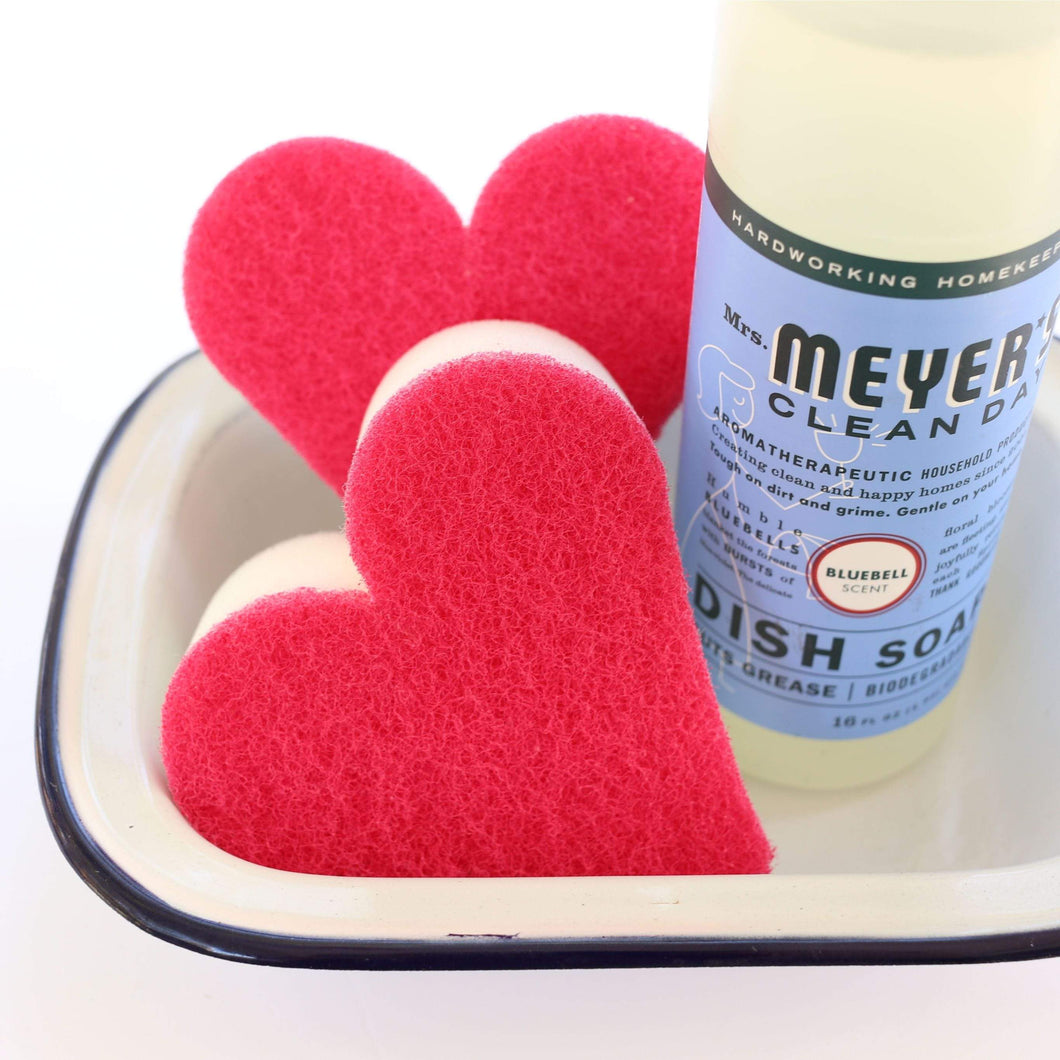 Cleaning Products Pink and White Heart-Shaped Thick Sponges Pack of 2 by Minky