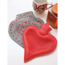 Load image into Gallery viewer, Heart-Shaped Hot Water Bottle and Cozy Gray Embroidered Cover
