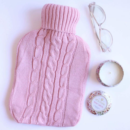 Hot Water Bottle French Pink Knit Sweater Cover 2L Hot Water Bottle