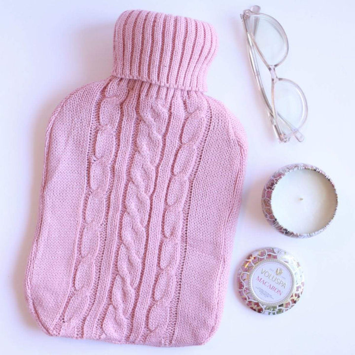 French Pink Knit Sweater Cover 2L Hot Water Bottle