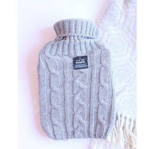 Hot Water Bottle Gray Knit Sweater Cover 1L Small Hot Water Bottle