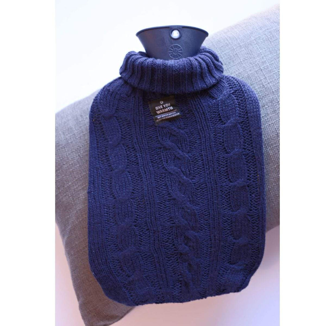 Hot Water Bottle Navy Blue Knit Cover 2L Hot Water Bottle