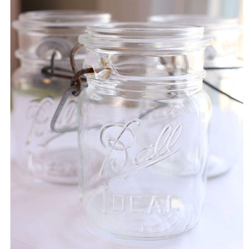 Jar Vintage Clear Ball Ideal Wire Top Jars-Various