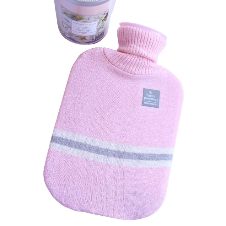 Light Pink and Gray Striped Knit Sweater Cover 2L Hot Water Bottle