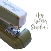 "Load image into Gallery viewer, Unique Retro Swingline Green Metallic 1970s Reproduction ""#27"" Desk Stapler"