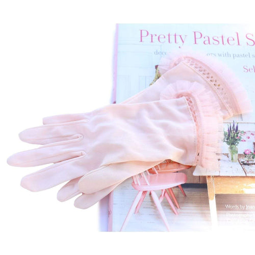 Vintage Delicate Pink Vintage Gloves with Tulle Trimming Ballerina Style
