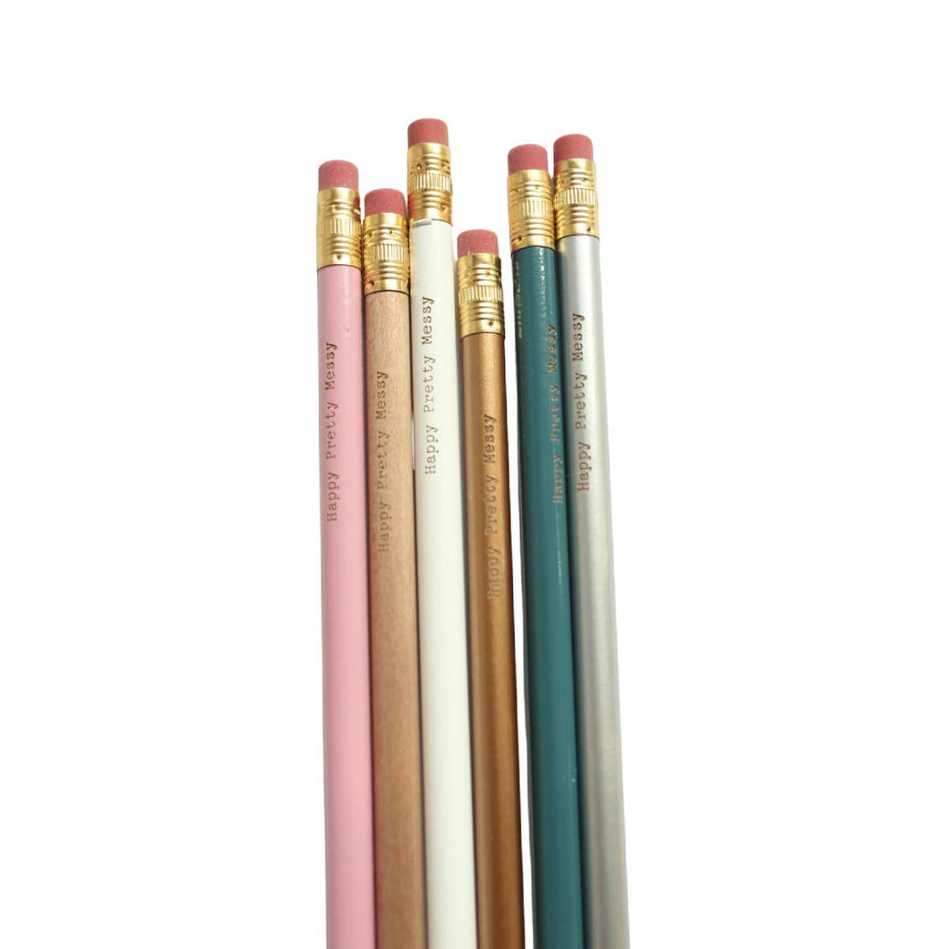 Writing Happy Pretty Messy Pencil Set of 6: Pink, Natural, White, Copper, Teal, and Silver