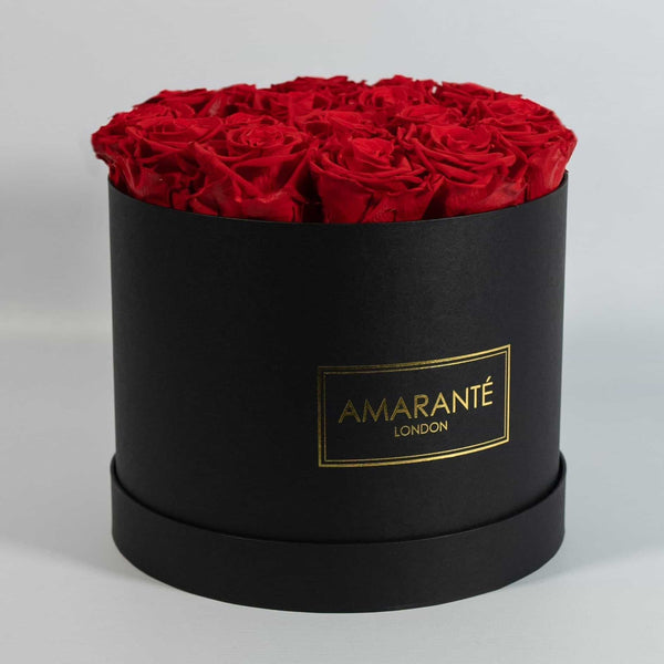 Happy Father's Day Flowers - Red Roses in black suede round box