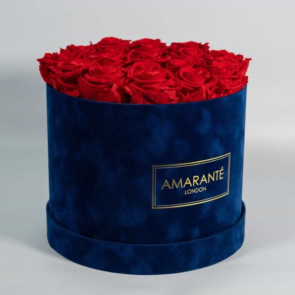 Happy Father's Day Flowers - Red Roses in blue suede round box