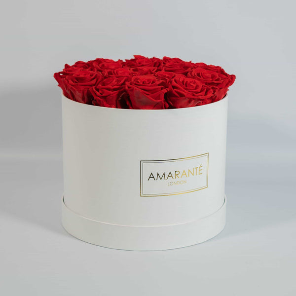 Happy Father's Day Flowers - Red Roses in white round box