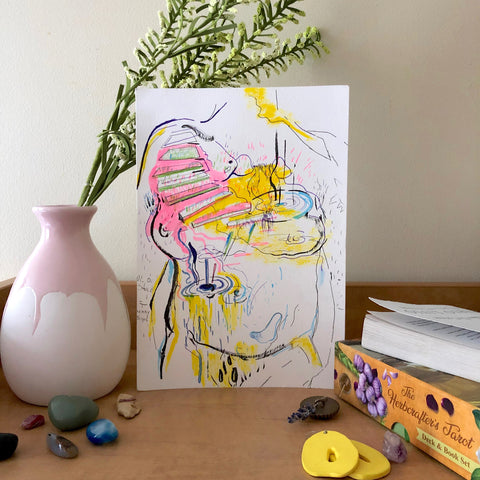 This Drawing Print is a reflection of the journey through self love and discovery with the body. Our bodies are spaces in which we move in, and nurturing that space to where it feels like home...is a process in itself-our self.