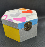Valentine gifts | ♡ treasure box | decoupage handmade jewelry box - Hexagon shape