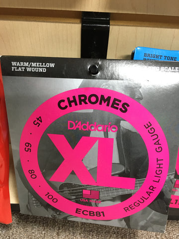 D'Addario ECB81 XL Chromes Flatwound Long Scale Bass Guitar Strings, Light Gauge