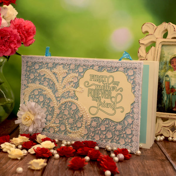 Crack of Dawn Crafts-First My Mother Forever My Friend Handmade Photo Album Tiffany Pearls