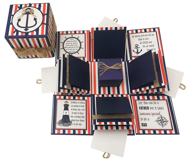 3 Layered Fathers Day Birthday Explosion Box - Nautical Tones