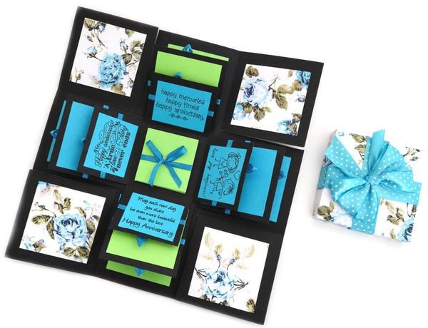 Crack of Dawn Crafts 3 Layered Happy Anniversary Explosion Box - Blue Floral