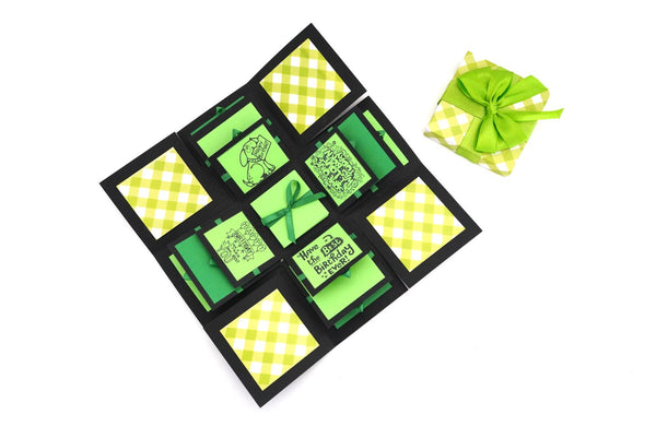 Crack of Dawn Crafts 3 Layered Happy Birthday Explosion Box - Green Checks