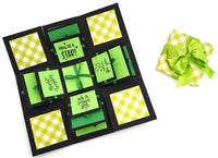 Crack of Dawn Crafts 3 Layered Happy Wishes Explosion Box - Green Checks