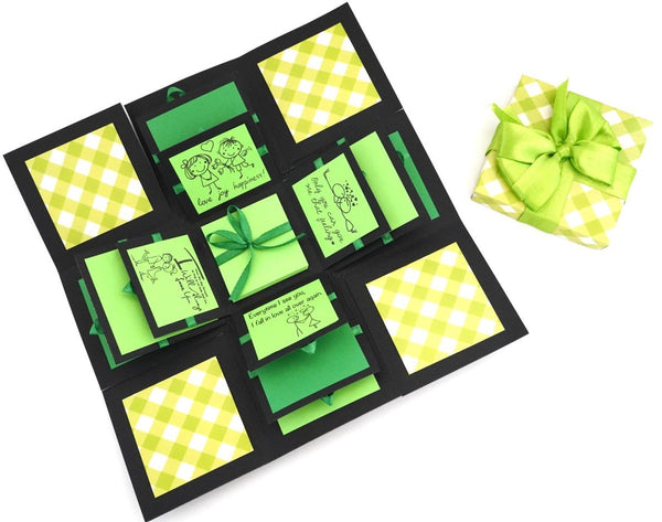 Crack of Dawn Crafts 3 Layered Happy love Explosion Box - Green Checks